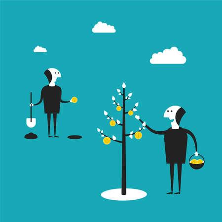 rentable: concepto de negocio rentable en estilo plano de dibujos animados