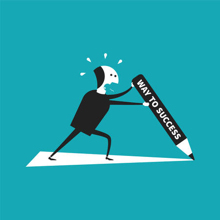 perspiration: Independent way to success concept in flat cartoon style