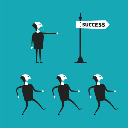 teamwork cartoon: Successful teamwork concept in flat cartoon style