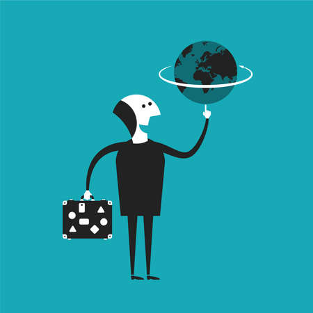 freelance: Businessman or traveler holding globe in hand concept in flat cartoon style