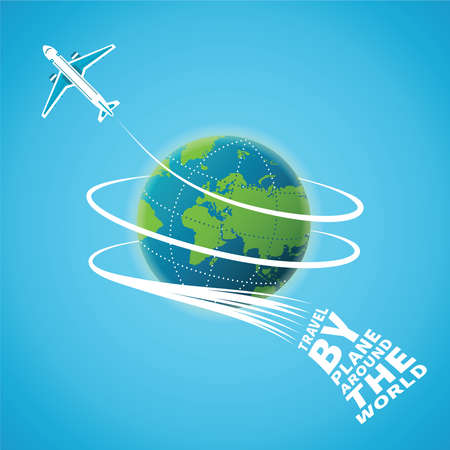 symbol tourism: Air travel around the world concept