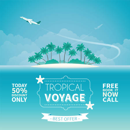 plackard: Airplane travel or tropical voyage concept in flat style Illustration