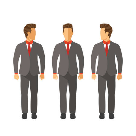 foreshortening: Set of vector businessmen in suits in flat style