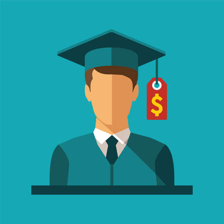 Vector concept of investment in education with student and price label