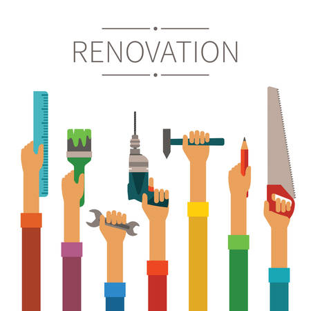 diy tool: Renovation and construction vector concept in modern flat style