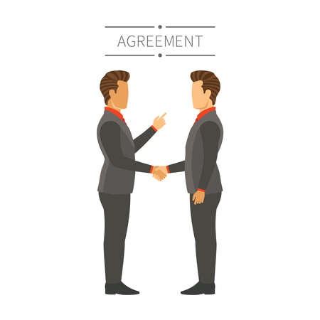 acquaintance: Businessman agreement or deal vector concept in flat modern style