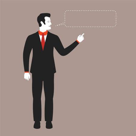 barker: Speaking businessman vector concept in modern flat style