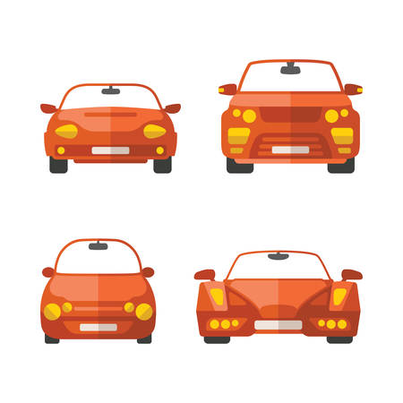 car front: Set of different vector passenger cars in flat style Illustration