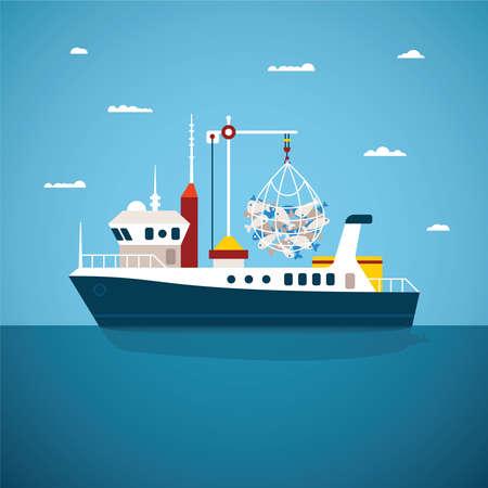 bateau p�che: Vector concept de l'oc�an de la rivi�re et le bateau de p�che en mer Illustration