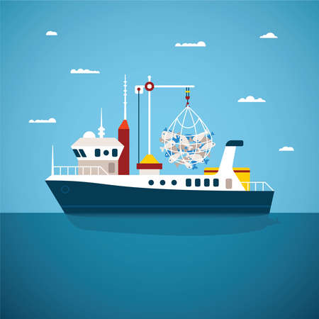import trade: Vector concept of river ocean and sea fishing boat
