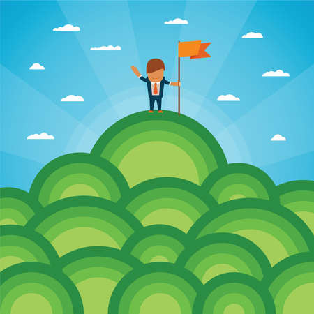 Vector success or leadership concept with mountainous landscape