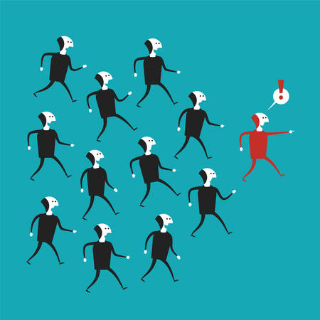 Vector business leadership concept in flat cartoon style Illustration