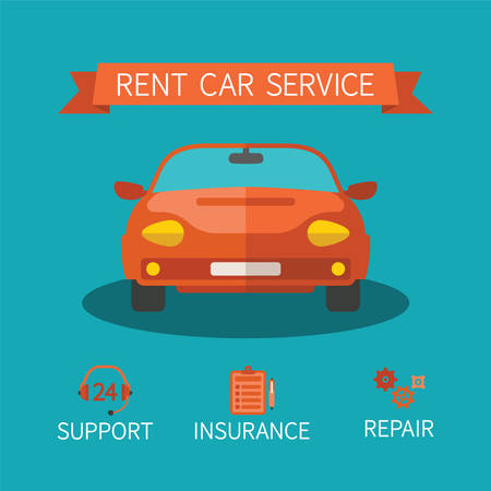 car rent: Rent car service vector concept in flat style Illustration