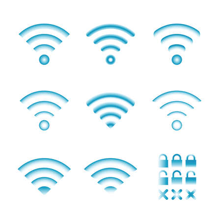remote access: Set of vector wireless icons for wifi remote control access and radio communication