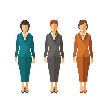 foreshortening: Set of vector businesswomen in suits in flat style