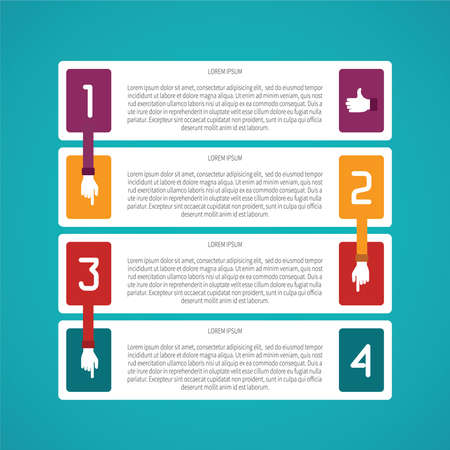 plackard: Abstract vector 4 steps infographic template in flat style for layout workflow scheme, numbered options, chart or diagram
