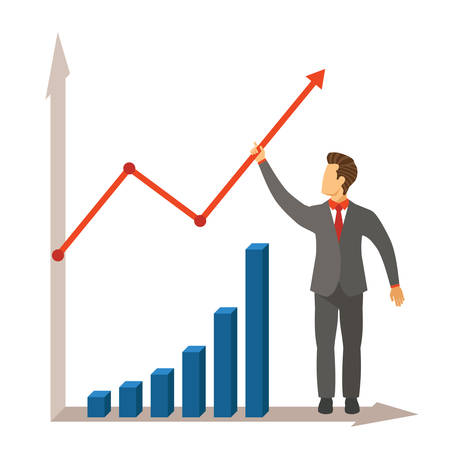 line chart: Business activity growth and success vector concept in modern flat style