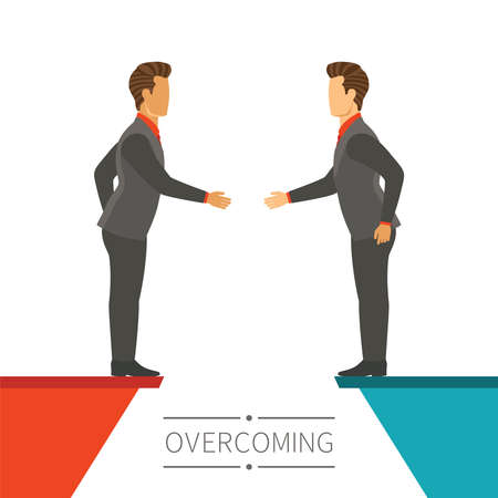 overcoming: Business disagreement overcoming vector concept in flat modern style Illustration