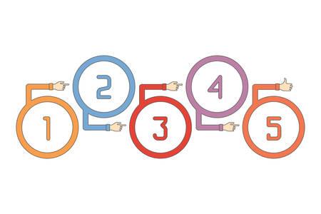 Abstract vector Timeline Infografik Vorlage in flachen Umriss-Stil für das Layout Workflow-Modell, Aufzählungsoptionen, Grafik oder Diagramm
