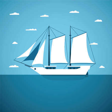 marine industry: Vector concept of river ocean and sea sailing boat Illustration