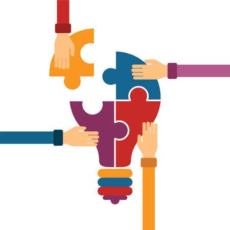 bombillo: Vector concepto de trabajo en equipo creativo con rompecabezas bombilla y la mano del hombre