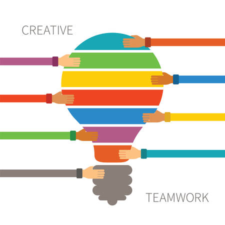 business decisions: Vector concept of creative teamwork with light bulb puzzle and human hands Illustration