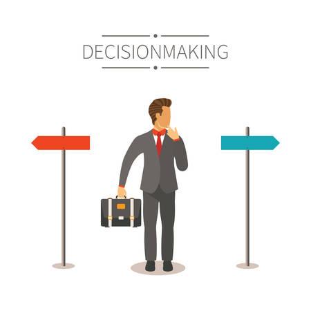 toma de decision: Diverso concepto maneras vector en estilo de dibujos animados plana