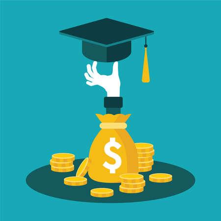 Vector khái niệm về đầu tư giáo dục với túi tiền xu