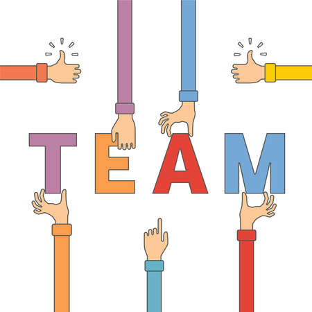teamwork concept: Vector concept of creative teamwork with letters and human hands in flat outline style