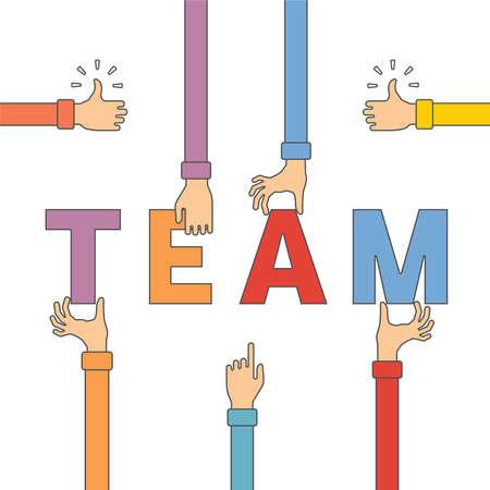 trabajo en equipo: Vector concepto de trabajo en equipo creativo con las letras y la mano del hombre en estilo de esquema plana