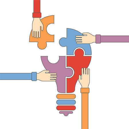Vector concept of creative teamwork with light bulb puzzle and human hands in flat outline style Illustration