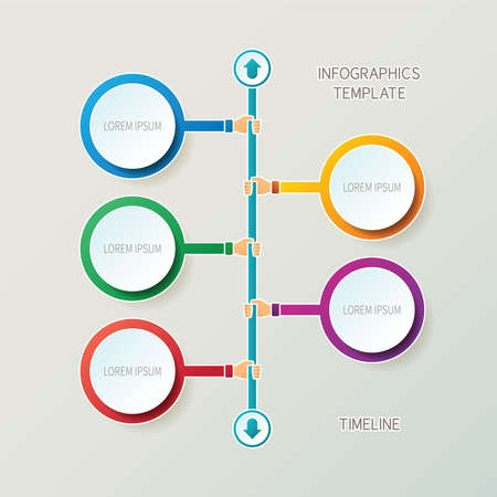 Abstract timeline infographic template in 3D style for layout workflow scheme, numbered options, chart or diagram