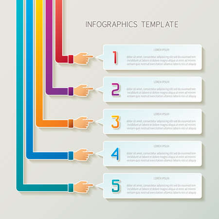 Abstract 5 steps infographic template in 3D style for layout workflow scheme, numbered options, chart or diagram