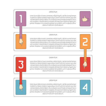 plackard: Abstract vector 4 steps infographic template in flat outline style for layout workflow scheme, numbered options, chart or diagram