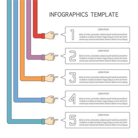 Abstract vector 5 steps infographic template in flat outline style for layout workflow scheme, numbered options, chart or diagram