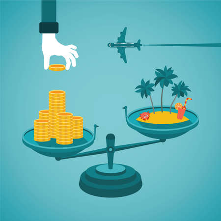 Vector concept price of tour or travelling in flat style Illustration
