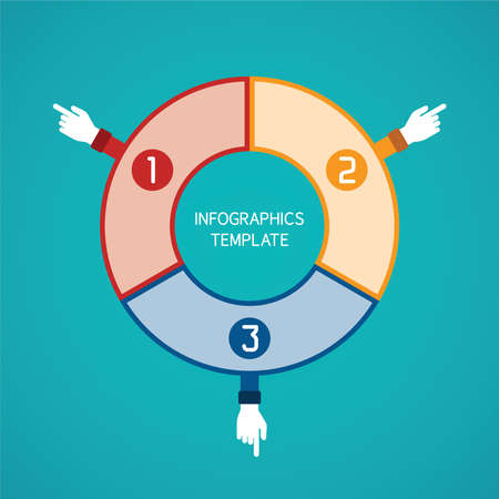 outward: Abstract vector 3 steps infographic template in flat style for layout workflow scheme, numbered options, chart or diagram