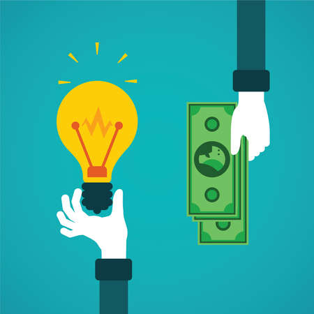 bulb idea: Crowdfunding or idea for money vector concept in flat style