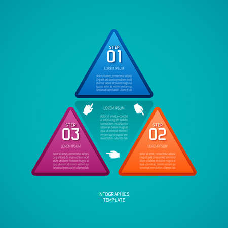 plackard: Abstract vector 3 steps infographic template in flat style for layout workflow scheme, numbered options, chart or diagram