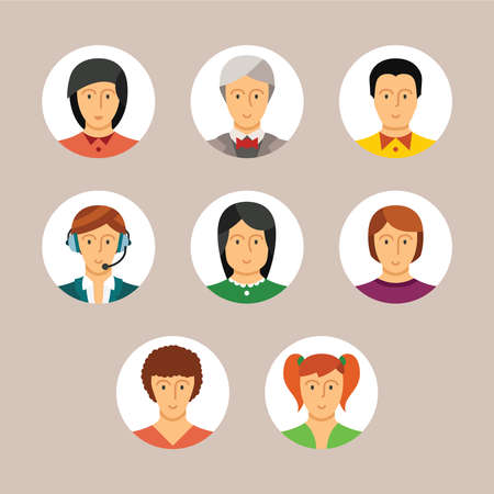 userpic: Set of vector avatars and characters in flat style