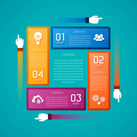 four hands: Abstract vector 4 steps infographic template in flat style for layout workflow scheme numbered options chart or diagram Illustration