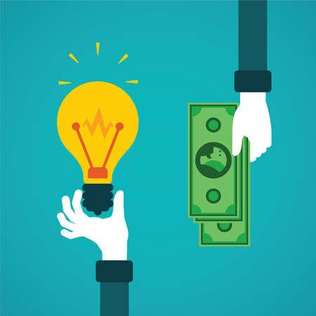 Crowdfunding oder eine Idee für Geld Vektor-Konzept in flachen Stil