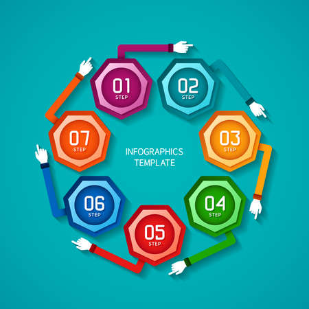 Abstract vector 7 steps infographic template in flat style for layout workflow scheme, numbered options, chart or diagram Illustration