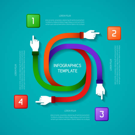 outward: Abstract vector 4 steps infographic template in flat style for layout workflow scheme, numbered options, chart or diagram