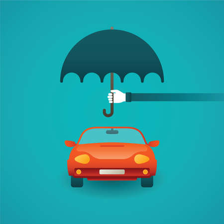 protection concept: Passenger car insurance vector concept in flat style