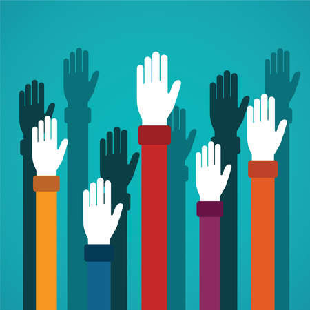 hands up: Voting rising hands vector concept in flat style