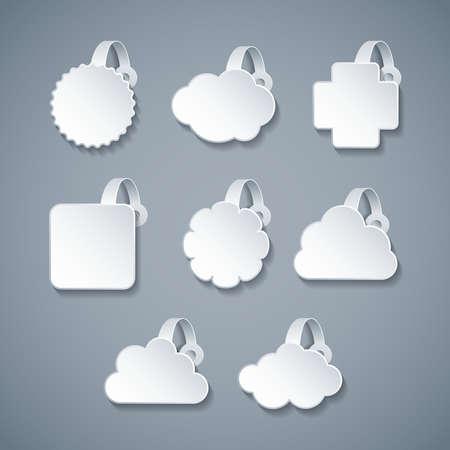 wobbler: Vector blank white wobbler templates set in 3d style