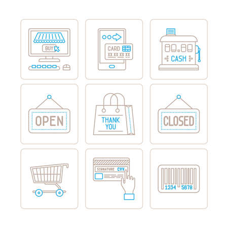 cvv: Set of vector shopping icons and concepts in mono thin line style