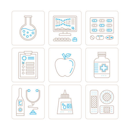 bactericidal: Set of vector healthcare or medicine icons and concepts in mono thin line style