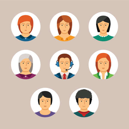 head and shoulder: Set of vector avatars and characters in flat style